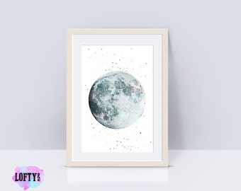Scandinavian poster, nursery moon print, scandinavian print, moon decor, scandinavian modern, moon art, moon printable art, moon wall print