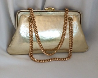 Pretty Vintage Gold Leather Evening Bag with Gold Chain Strap