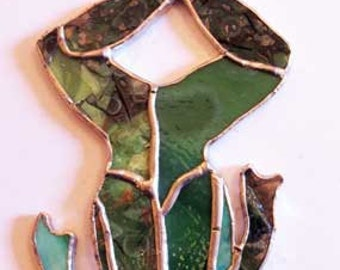 """Stained Glass Frog - 2 3/4"""" x 7 1/2"""" #F004"""