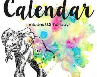 SALE    2016 Elephant Calendar - Vertical