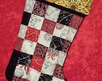 Red & Black Plaid Hand Pieced Christmas Stocking