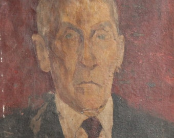Antique oil painting man portrait