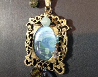 Necklace bronze color, blue-green collar fancy green fairy (absinthe), 70 cm, Medallion frame 4 cm x 3 cm ball chain