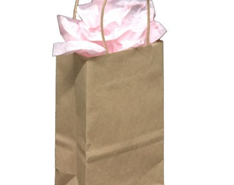 Pack 25 handled Kraft paper bag,5.25x3.25x8.375,Kraft gift bags,Kraft shopping bags with handles,small paper gift bags,brown paper bags