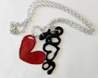 Long necklace LOVE black and red Bordeaux handmade polymer and resin