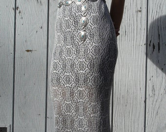 Vintage Sheer Knit Silver & Black Dress