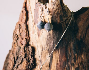Black Agate Stone Necklace and Earrings