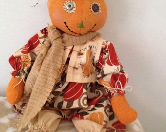 Harvest Pumpkin Doll, Primitive Dolls, Harvest Doll, Pumpkin Decor, Home Decor, Dolls Handmade, Folk Art, One of a Kind, Fall Decor