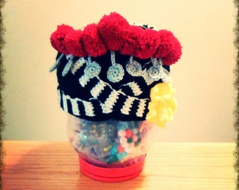 hmong crochet red v hat