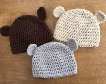 Soft Handmade Crochet Baby Bear Hat