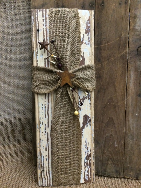 Rustic Burlap Wall Decor : Rustic wood burlap cross wall decor