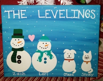 Snowman Family - 11 X 14 Canvas Painting