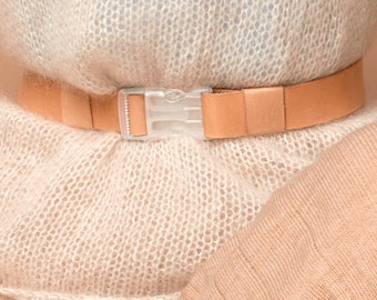 wide leather belt with transparent buckle, vegetable tanned leather, SABRINA WEIGT,leather belt,natural leather belt,veg tan belt, nude belt