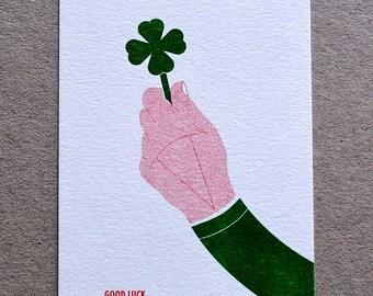 Good Luck - Four Leaf Clover Risograph Print