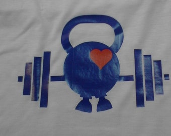 Kettlebell with a Heart & Barbell - Womens Boxy Crop Tank
