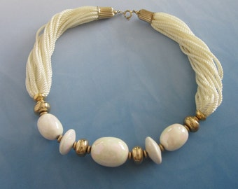 Vintage JAPAN Creamy White Torsade Necklace with Porcelain Beads