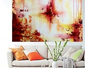Abstract Painting Red Orange and with Gold leafing Large Modern Painting, MADE TO ORDER, Dimensions: 91.4cm x 91.4cm (36in x 36in)