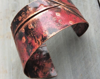 Torch Patina Copper Cuff Bracelet - handmade industrial wide fold formed rustic boho fold formed red flame patina