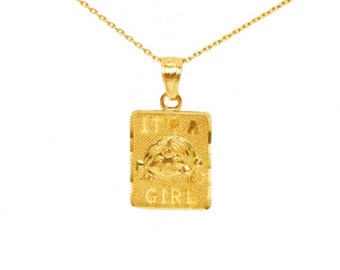 "10k Yellow Gold ""Its A Girl"" New Baby Charm"