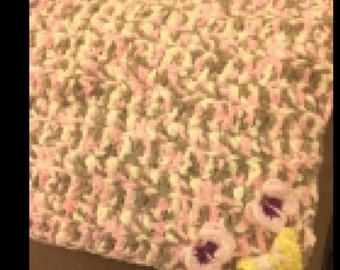 Butterfly hand crocheted heavy baby blanket- pink, cream brown