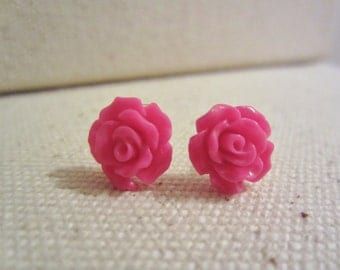 Hot Pink Rose Stud Earrings
