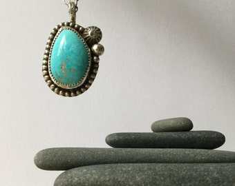 Turquoise and Sterling necklace , gorgeous blue stone!