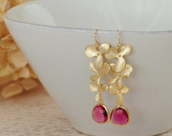 Gorgeous Cascading Orchid Dangle w Fuchsia Glass Briolette Magenta Triple Gold Plated Orchid Triple Orchid Drop Pendant  Wedding Jewelry Mom