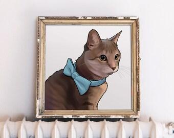 Personalized Gift for Cat Lover, Cat Lover Gift, Cat Illustration Custom, Cat Art Custom, Cat Portrait, Crazy Cat Lady