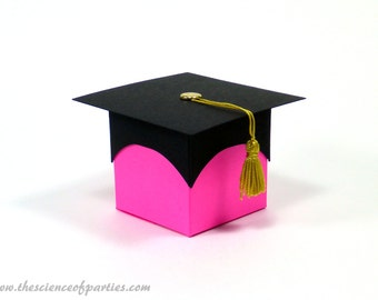 Pink Graduation Favor Boxes Box Gold Tassel Cap