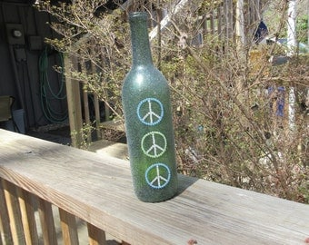Peace Sign Wine Bottle, Recycled Peace Sign Wine Bottle, Upcycled Peace Sign Wine Bottle, Upcycled &Recycled Wine Bottle
