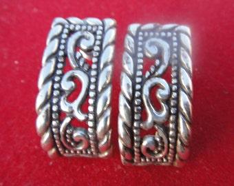 vintage sterling silver earrings , fashion , detailed pierced earrings , stylish, hallmark hearts, pierced earrings
