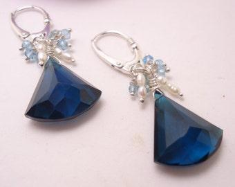 London Blue faceted Quartz Earring Beaded Earrings Gemstone Earrings Bridesmaid Gift Sterling Silver Lever Back