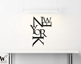 rta209 New York Sign USA NY city gift Map kids Chirdren Office Wall Decal Vinyl Decor Sticker Bedroom