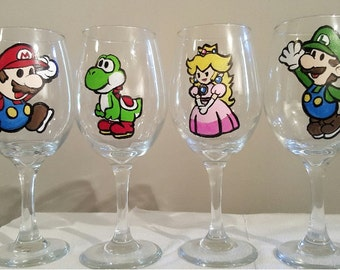 Paper Mario Inspired Heroes Handpainted Wine Glasses