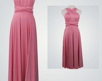 Dark Pink Bridesmaid Dresses,Wrap convertible dress,Pink Dress,Infinity dresses,Party dress, Wedding dress,Pink Bridesmaid gown