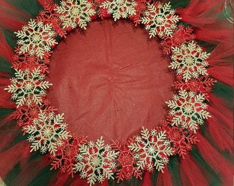 Red And Green Tulle Wreath