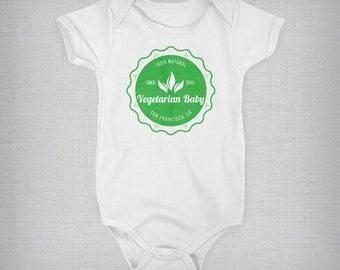 Baby Onesie, Custom Onesie, Vegetarian Baby, Funny Baby Onesie, Baby Boy, Baby Girl, Baby Gift, Unique Onesie, Retro Onesie