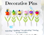 Decorative Sewing Pins - Thread Catcher Pin - Quilt Pins - Flower Pins - Scrapbooking Pins - Gift for Sewers - Bulletin Board Pin - Push Pin