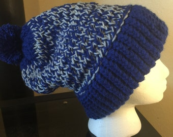 Blue & Gray Knitted Stocking hat