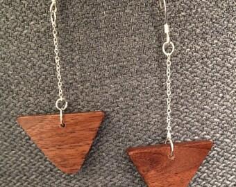 Sleek Walnut Chain Drop Earrings