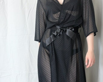 Black Dot Long Chiffon Robe