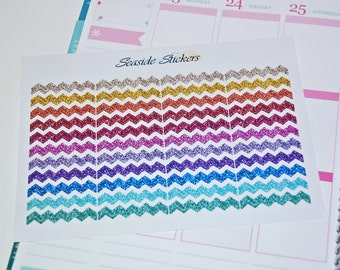 glitter zigzag stickers || matte or glossy || planner stickers