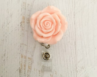 Peach Resin Rose Badge Reel Flower Shaped ID Holder Retractable Name Badge Reel Embellished Badge Reel Valentine's Day Badge Reel