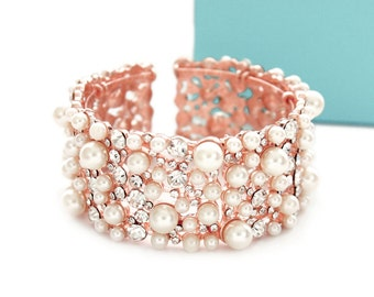 Rose gold pearl cuff bracelet, Wedding pearl jewelry, Bridal pearl bracelet, Pearl rhinestone bracelet, Bridesmaid bracelet Rose Gold 0187RG