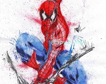 Spider-man A3 art print home decor , marvel, the amazing spider-mel watercolour