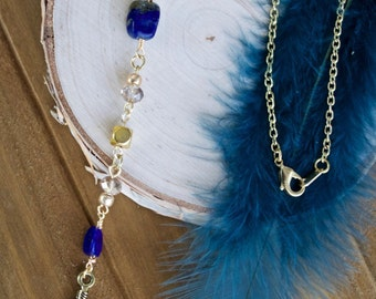 Lapis Lazuli and Gold Feather Y Necklace, Blue Stone Lariat
