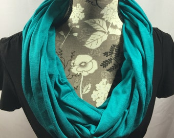 Teal Jersey Scarf, Winter Scarf, Gift for Her, Scarves for Women, Infinity Scarves, Jersey Scarf, Warm Scarf, Teal Scarf