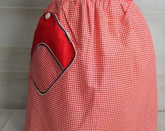 Vintage Red Gingham Half Apron / Vintage Apron
