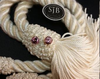 Pink Dusty Rose Zircon Stud Earrings, 14kt Yellow Gold, #E301