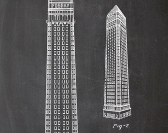 Building, architecture, Wilbur Foshay, patent, printing, architecture, print, A4, skyscraper, skyscraper, drawing, drawing